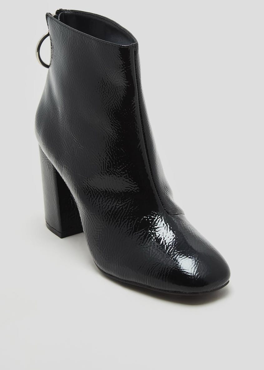Circle Back Patent Block Heel Ankle Boots