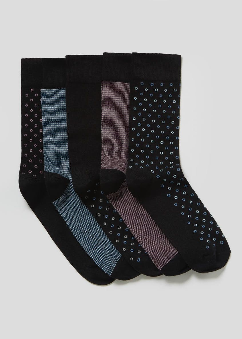 5 Pack Spot & Stripe Socks