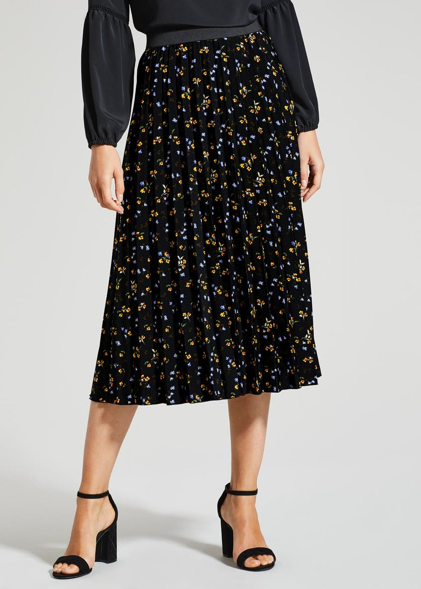 Ditsy Floral Pleated Midi Skirt