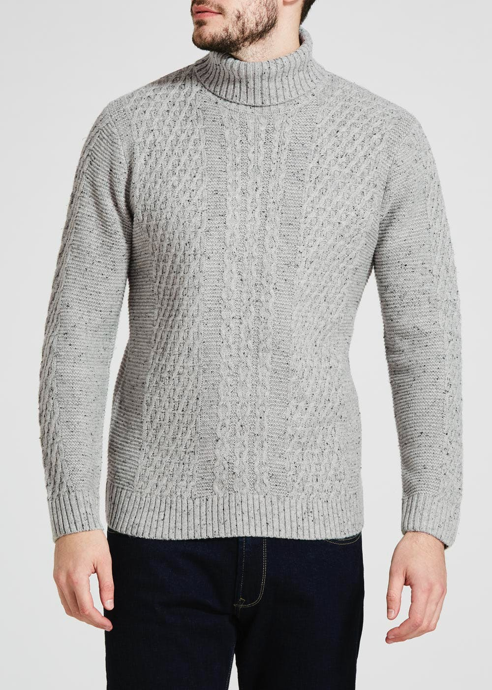 e43d804ded2335 Roll Neck Cable Knit Jumper – Grey – Matalan