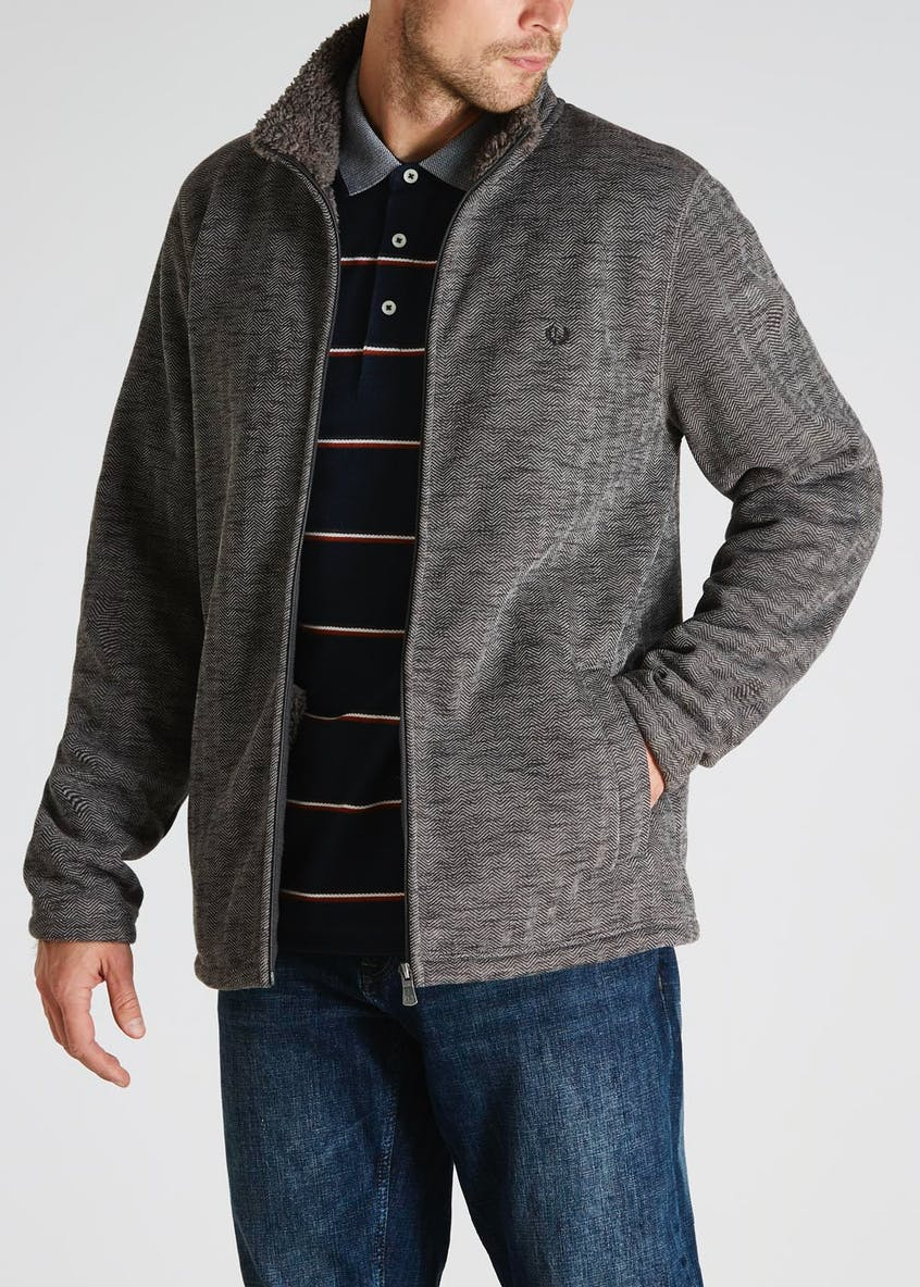 Lincoln Herringbone Zip Through Fleece