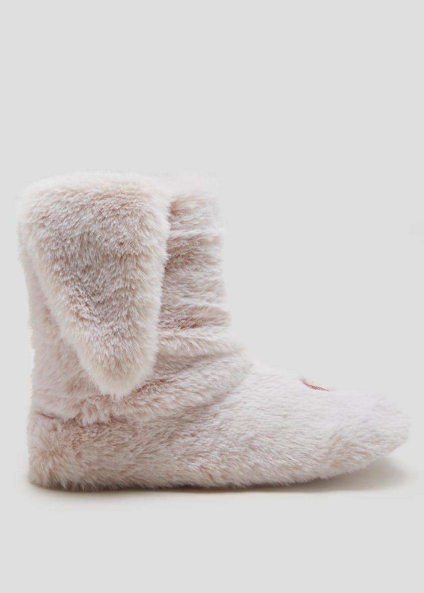 3D Bunny Faux Fur Slipper Boots