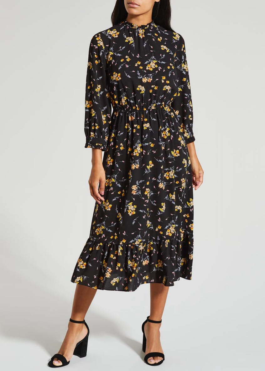 Floral High Neck Midi Dress