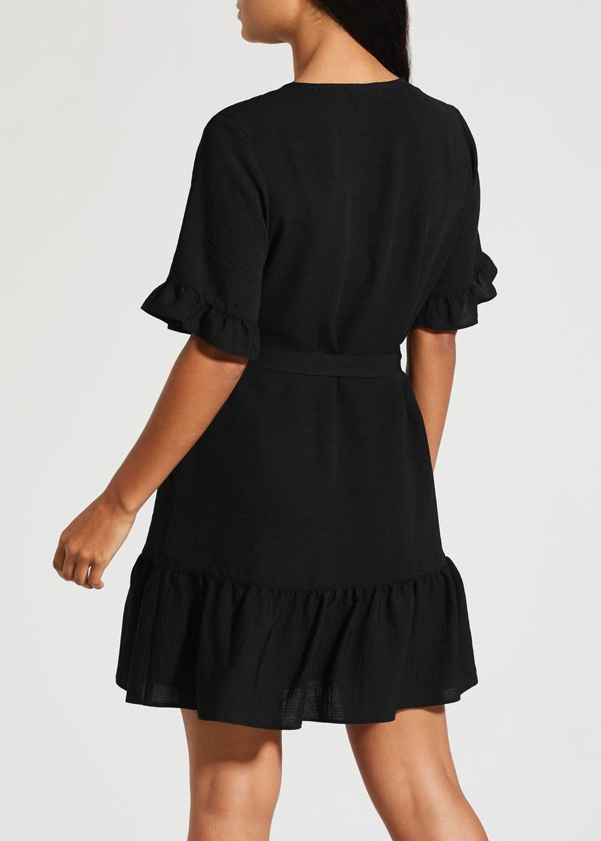 Horn Button Frill Peplum Dress