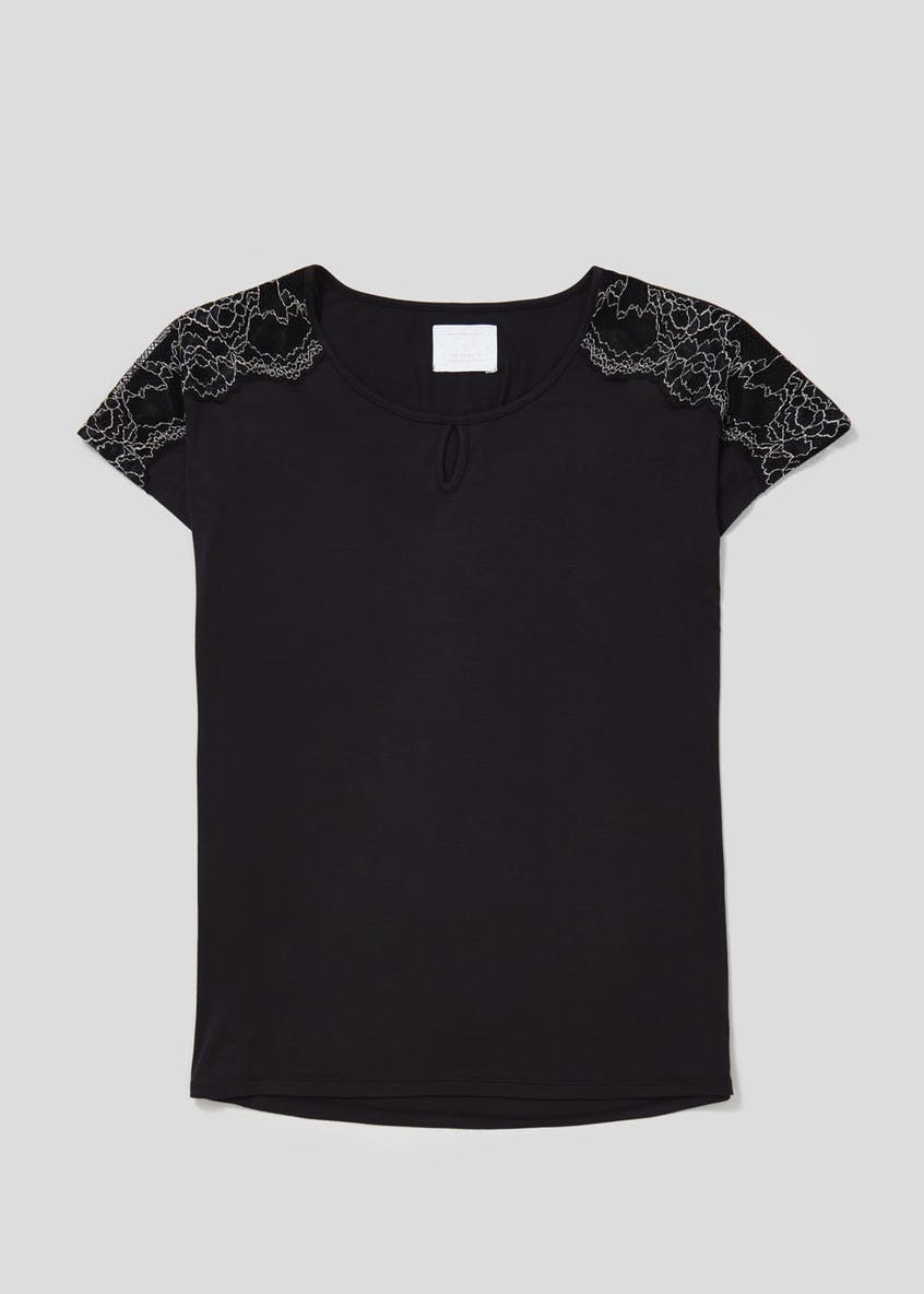 Lace Trim Viscose Pyjama Top