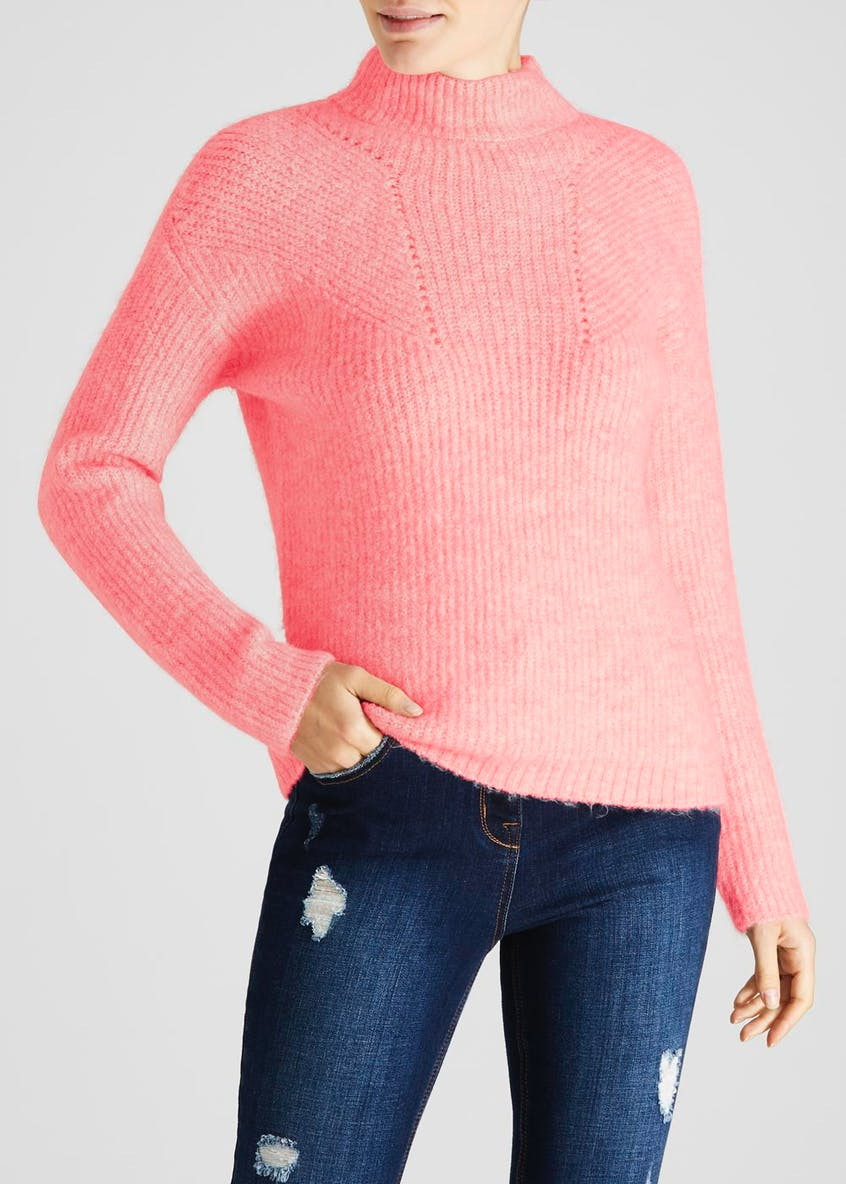 Pointelle Funnel Neck Jumper