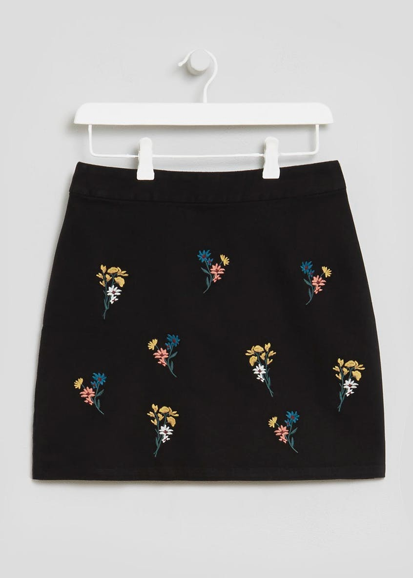 Floral Embroidered A-Line Skirt