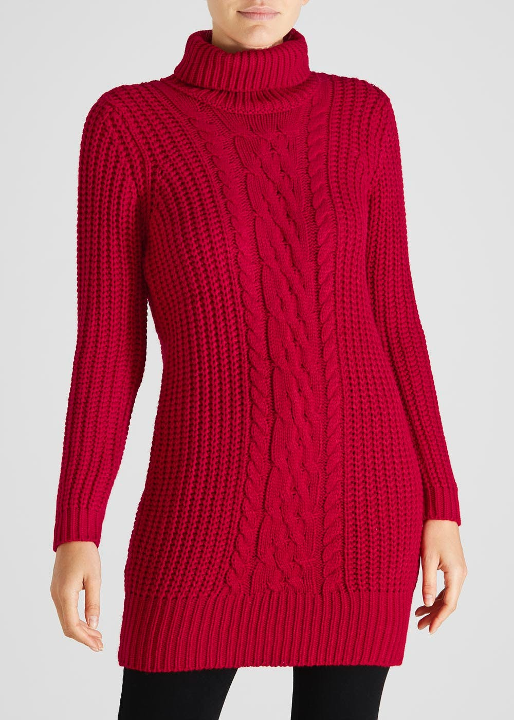 5bac44a8120 Roll Neck Cable Knit Jumper Dress – Red – Matalan