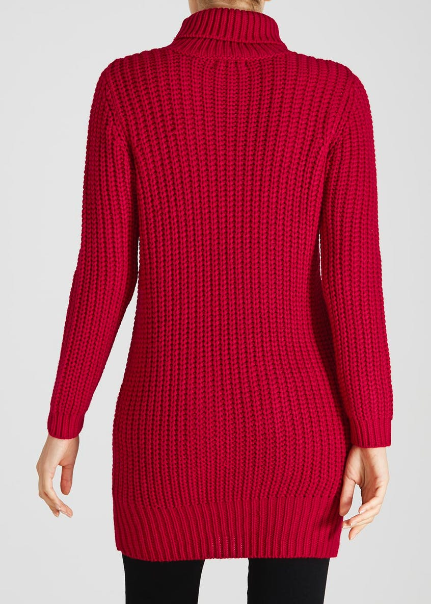 Roll Neck Cable Knit Jumper Dress
