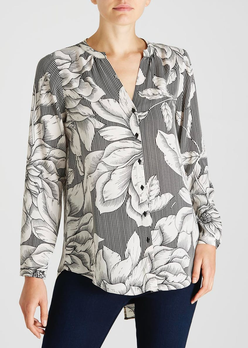 Soon Floral Stripe Split Back Blouse