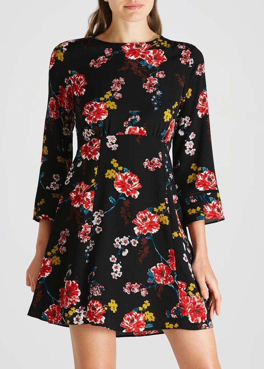 Floral Ladder Trim Tea Dress