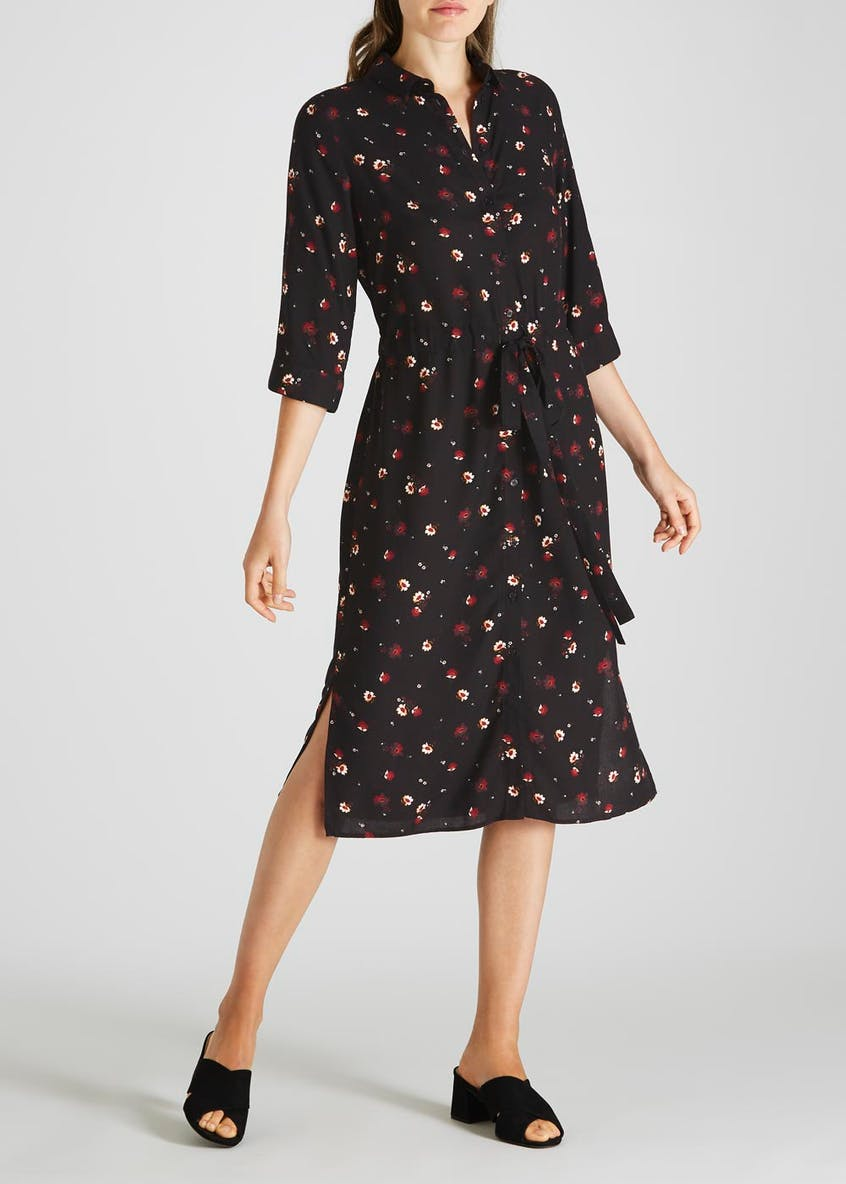 Ditsy Floral Midi Shirt Dress