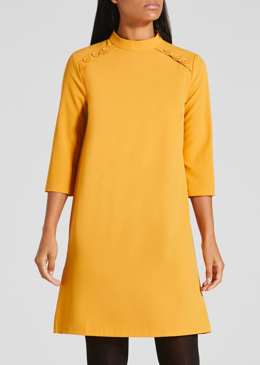 Button High Neck Dress