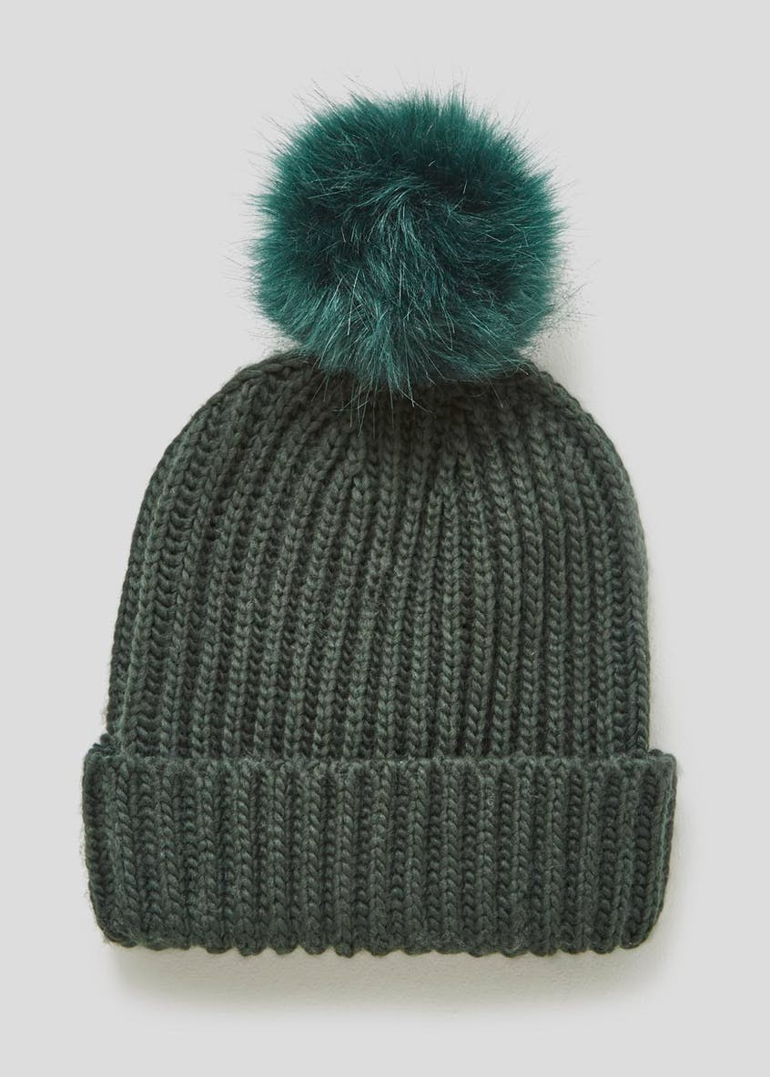 Knitted Faux Fur Bobble Hat