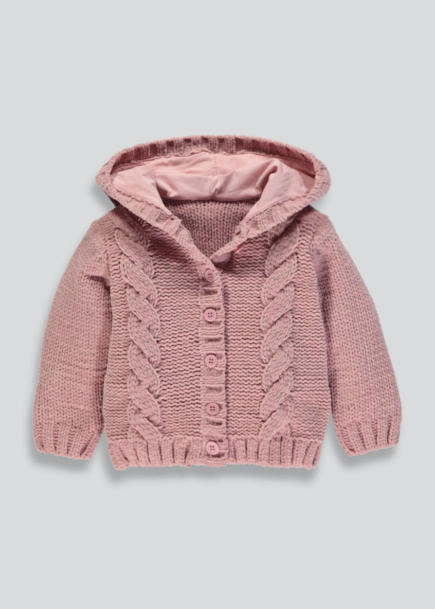 Girls Cable Knit Hooded Cardigan (3mths-6yrs)