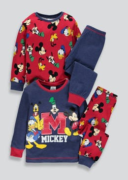 Kids 2 Pack Disney Mickey Mouse Pyjamas (3mths-5yrs)