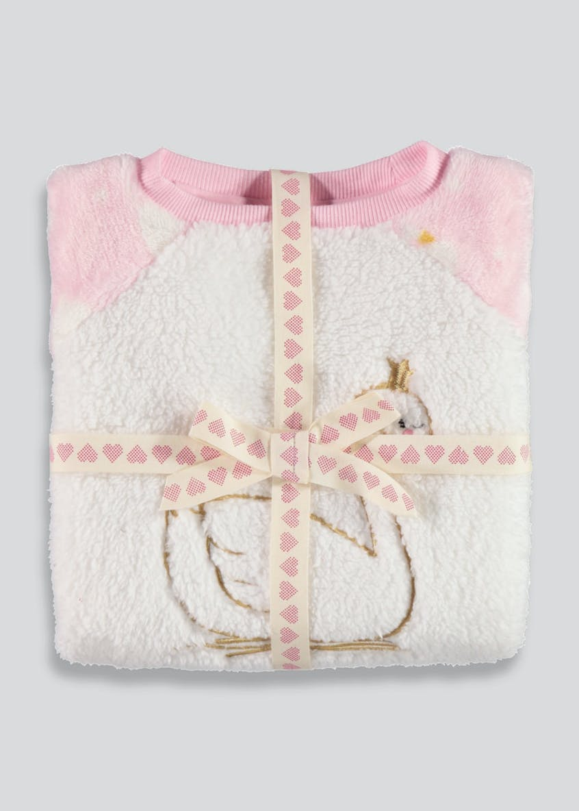 Girls Swan Fleece Pyjama Set (12mths-5yrs)