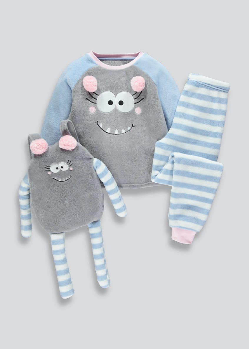 Girls Monster Sleepover Pyjama Set & Bag (4-13yrs)