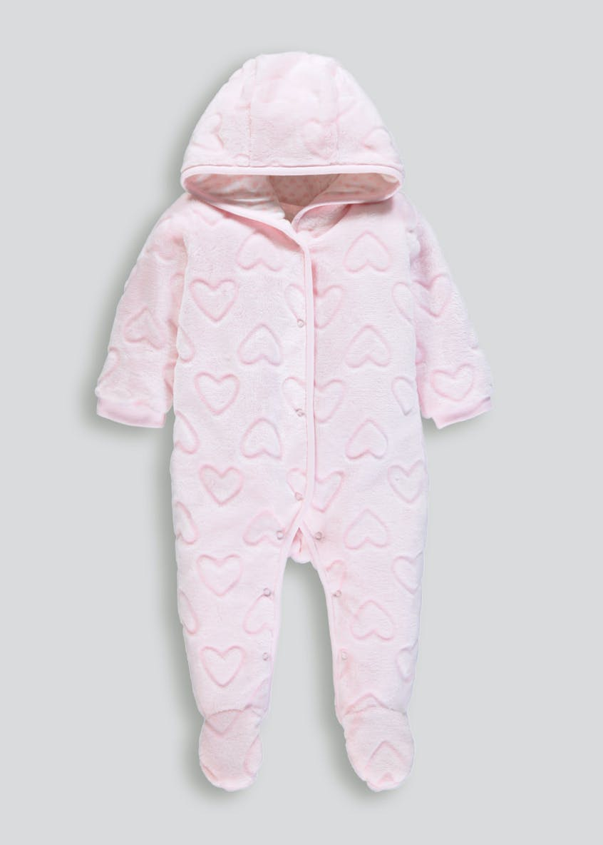 Girls Heart Fleece Hooded Romper (Tiny Baby-18mths)