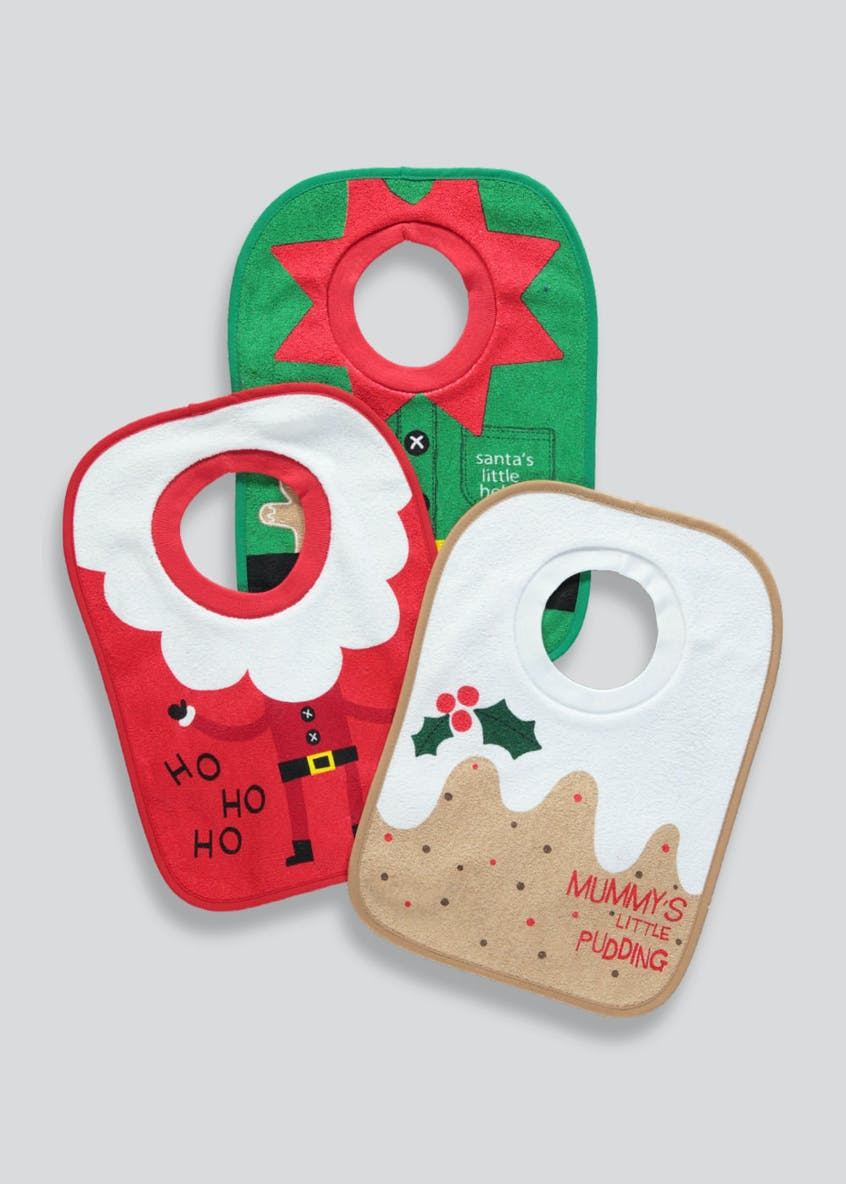 3 Pack Christmas Pop Over Bibs (One Size)