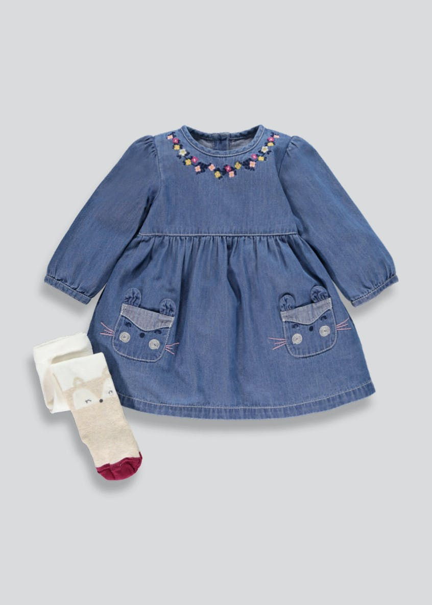 Girls Denim Bunny Dress & Tights Set (Newborn-18mths)