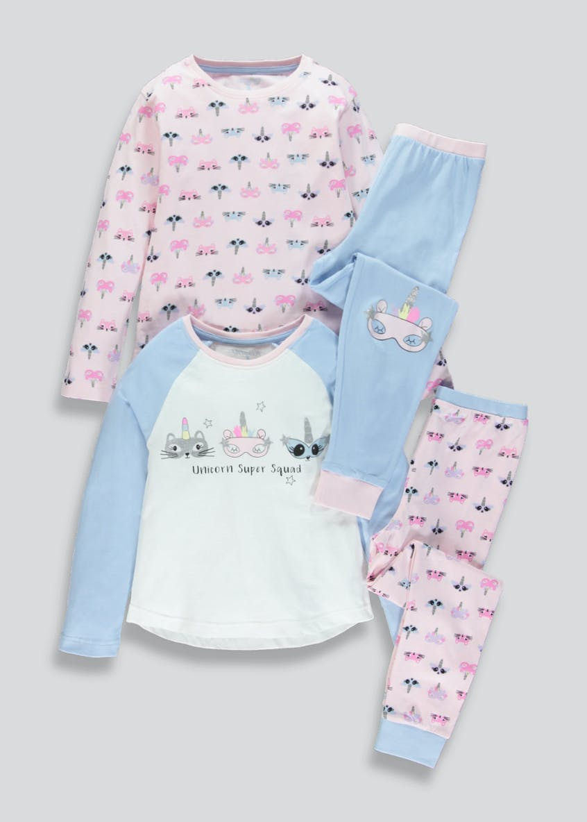 Girls 2 Pack Unicorn Squad Pyjamas (4-13yrs)