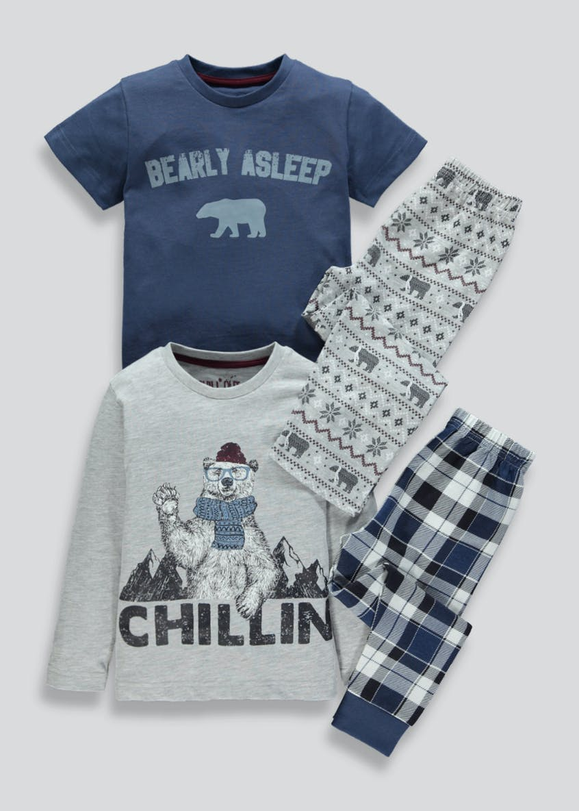 Kids 2 Pack Polar Bear Pyjamas (4-13yrs)