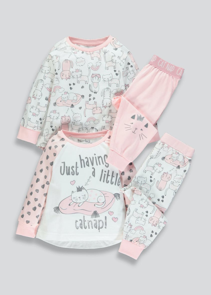 Girls 2 Pack Cat Nap Pyjamas (9mths-5yrs)