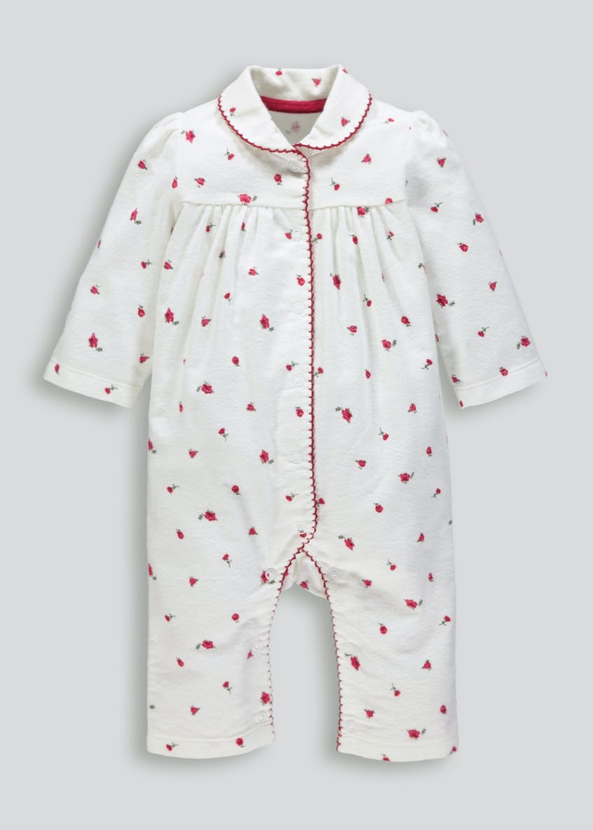 Unisex Floral Brushed Cotton Romper (Newborn-18mths)