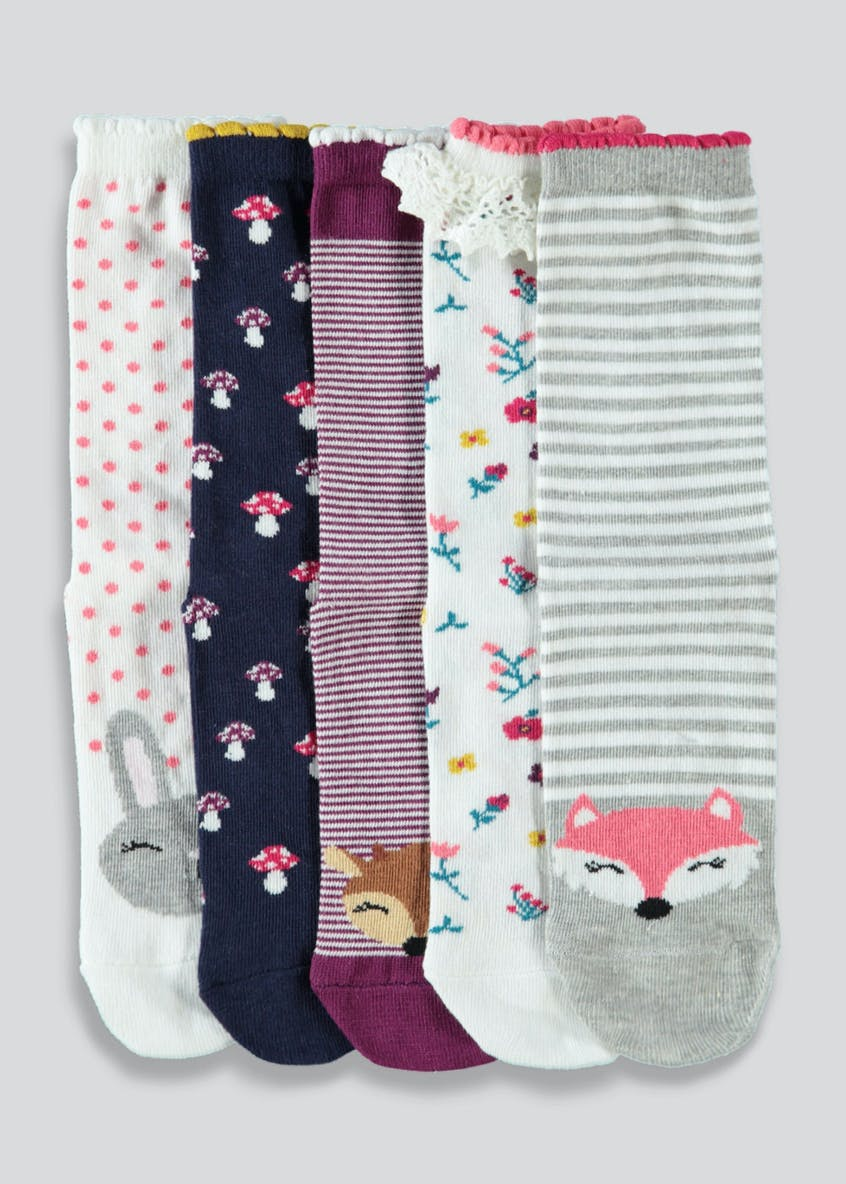 Kids 5 Pack Woodland Animal Socks (Younger 6-Older 5.5)