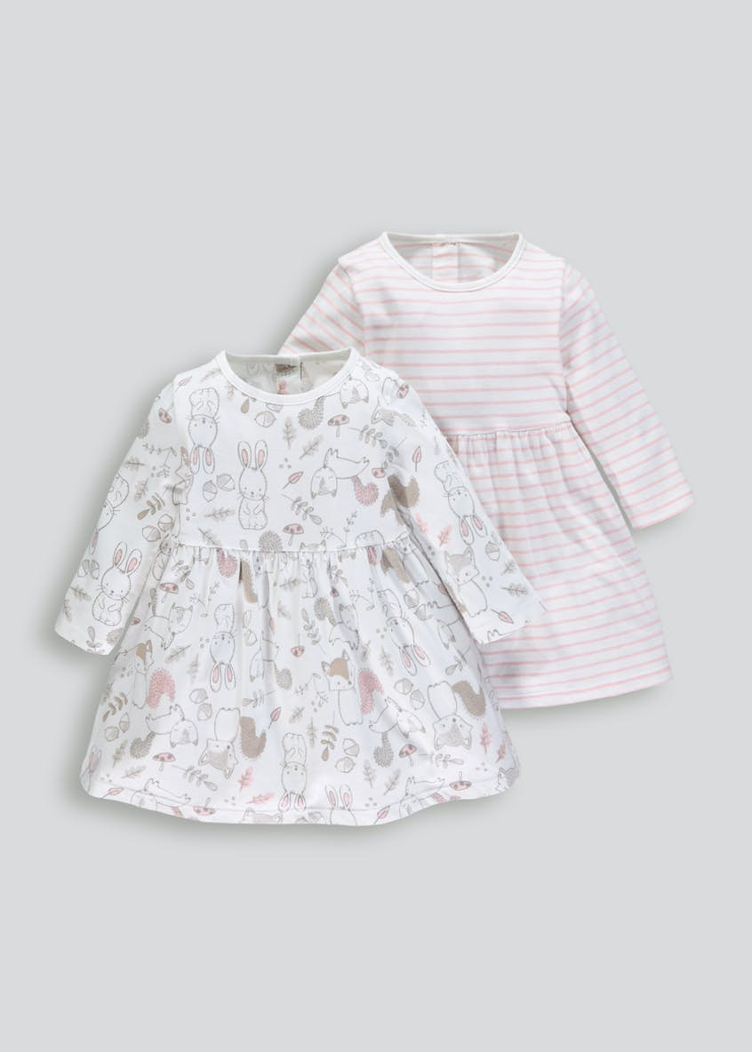 Girls 2 Pack Woodland Print Dresses (Tiny Baby-18mths)