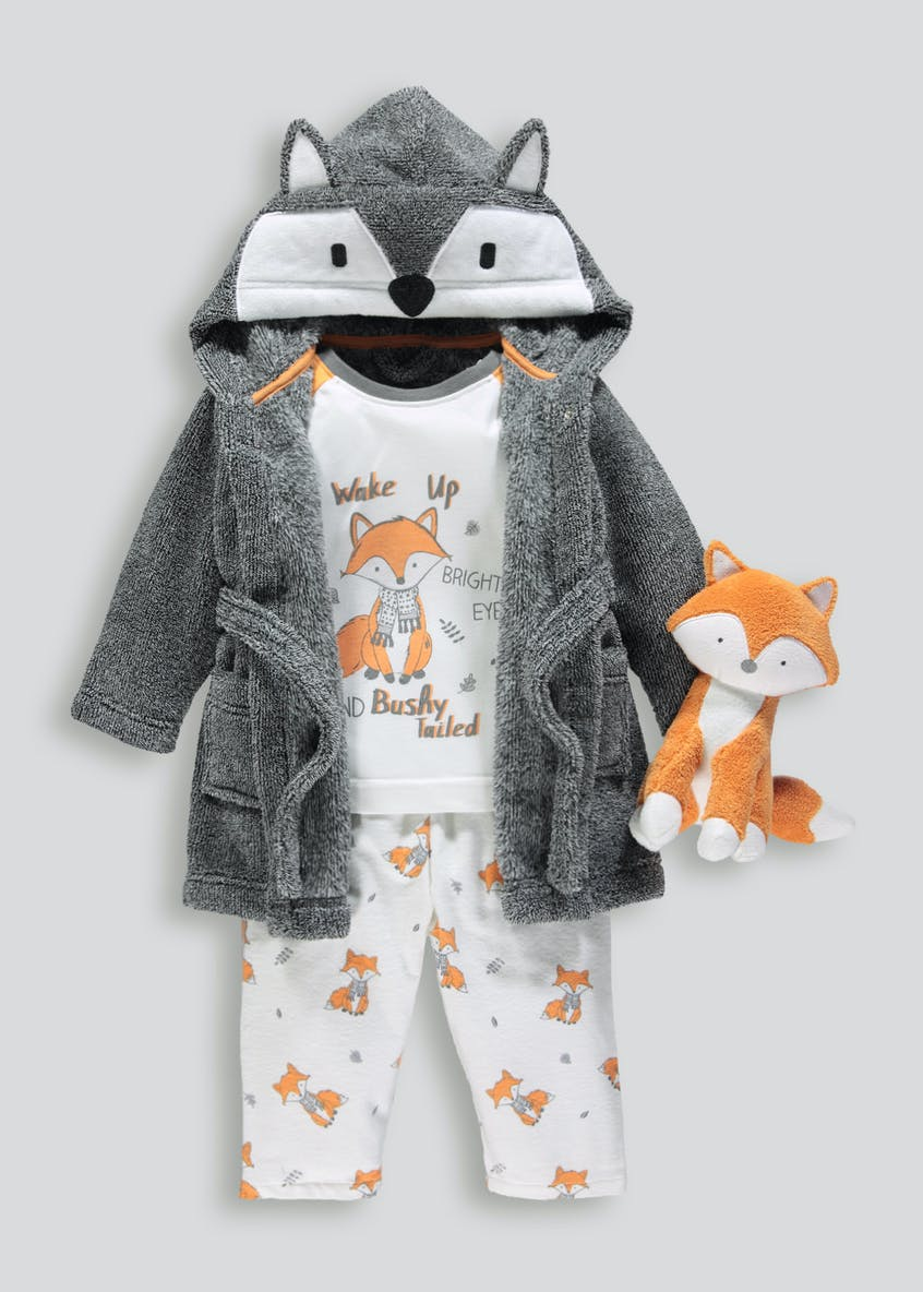 Kids 4 Piece Fox Pyjamas, Dressing Gown & Toy Set (9mths-5yrs)