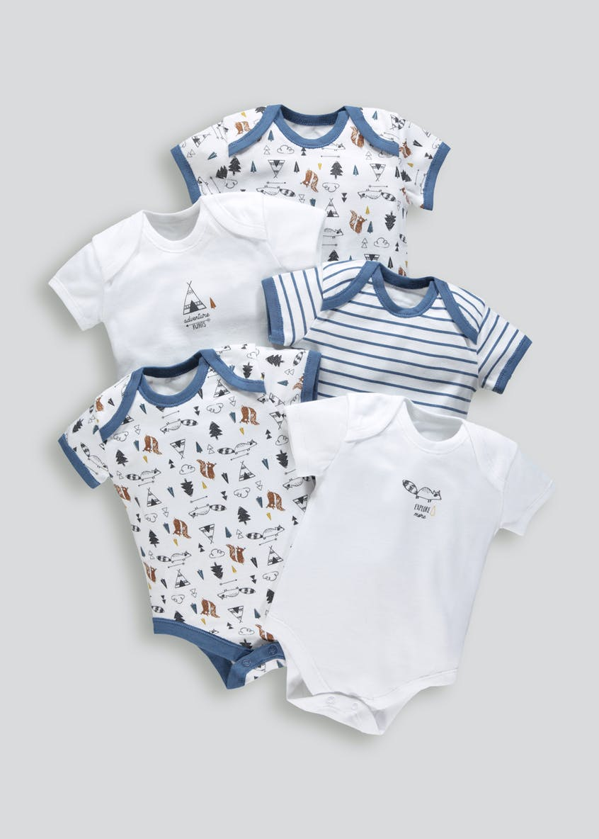 Unisex 5 Pack Woodland Bodysuits (Tiny Baby-23mths)
