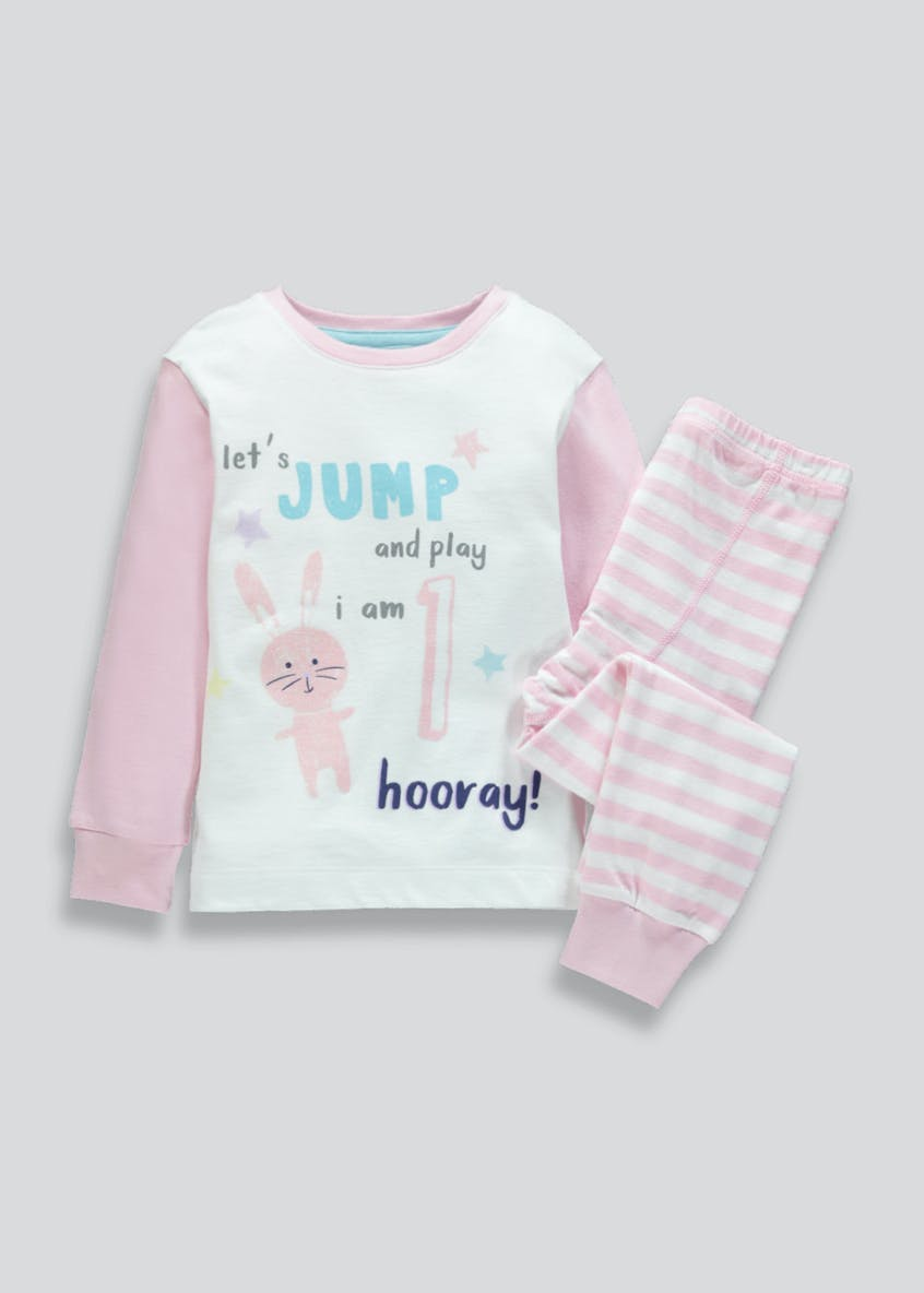 Girls I am 1 Bunny Pyjama Set (1yr)