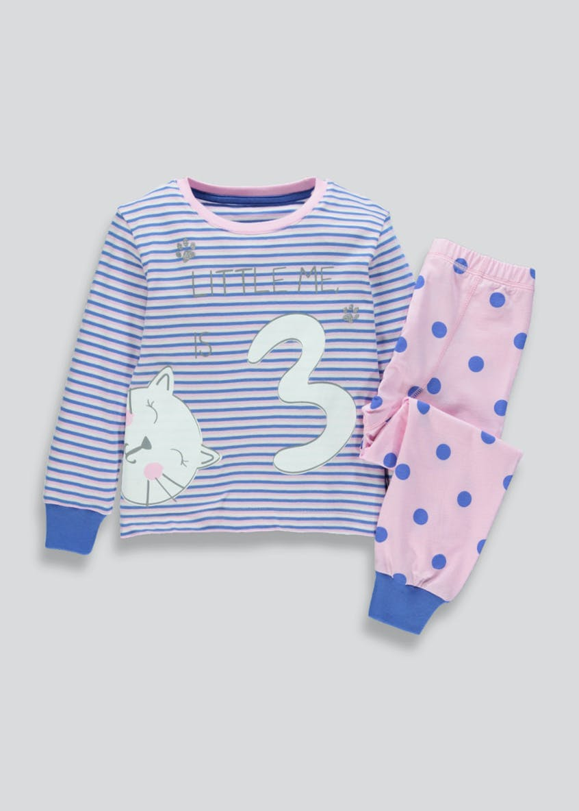 Girls I am 3 Cat Pyjama Set (3yrs)