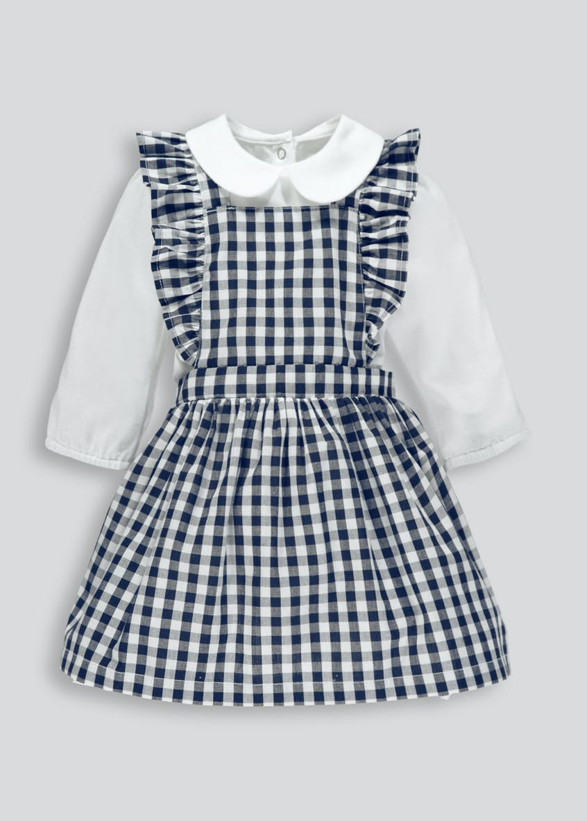 Girls Gingham Pinafore & Bodysuit Set (Newborn-18mths)