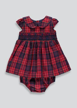 Girls Check Dress & Knickers (Tiny Baby-18mths)