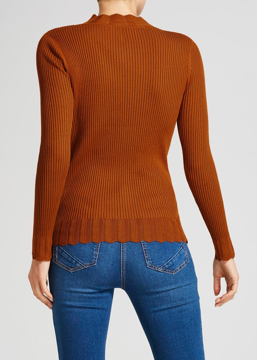 Scalloped High Neck Jumper