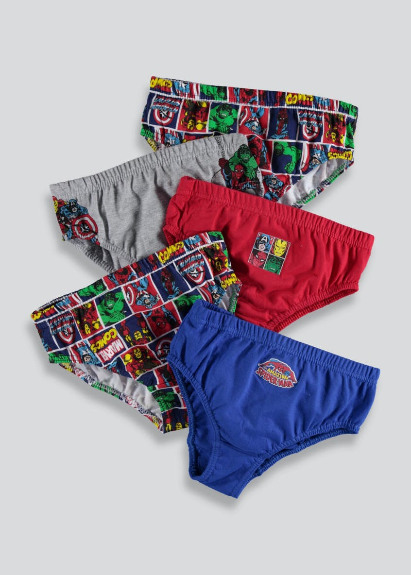 Boys 5 Pack Marvel Comics Briefs (2-9yrs)