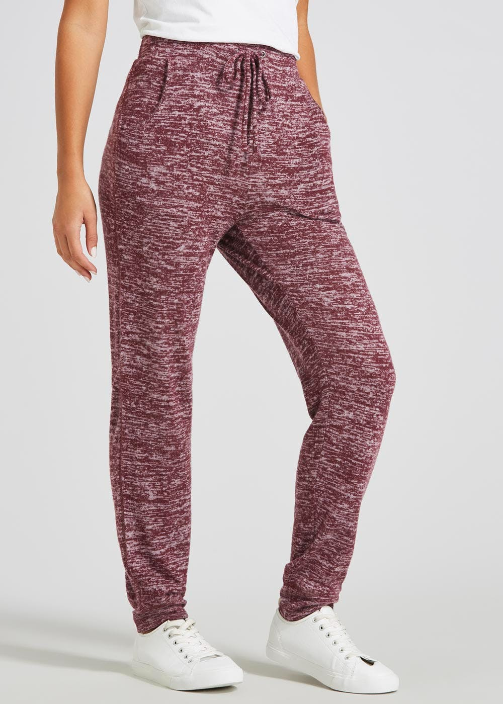9a966b5c90 Soft Touch Tapered Jogging Bottoms – Burgundy – Matalan