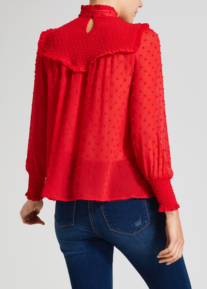 Textured Dobby High Frill Neck Blouse