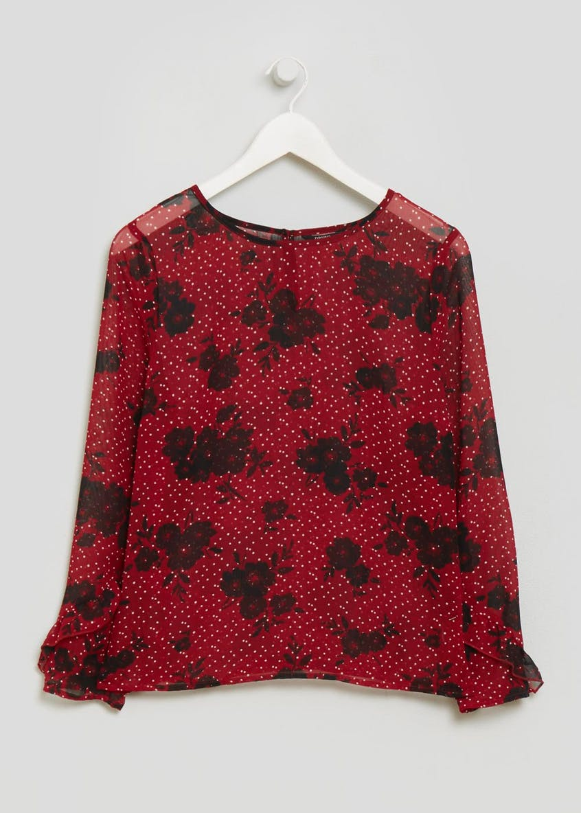 Floral Spot Frill Blouse