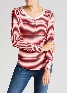 Falmer Stripe Cuffed Henley Top