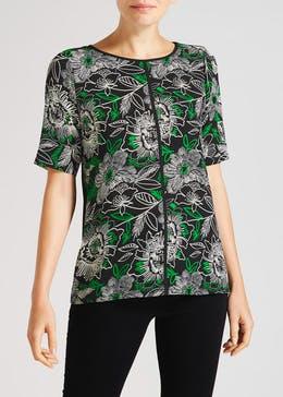 Floral Piped Woven Front Box Top