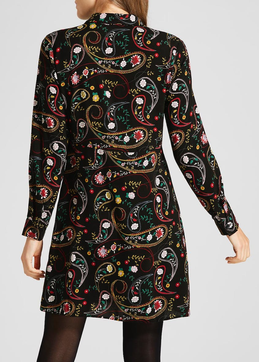 Floral Paisley Tie Front Shirt Dress