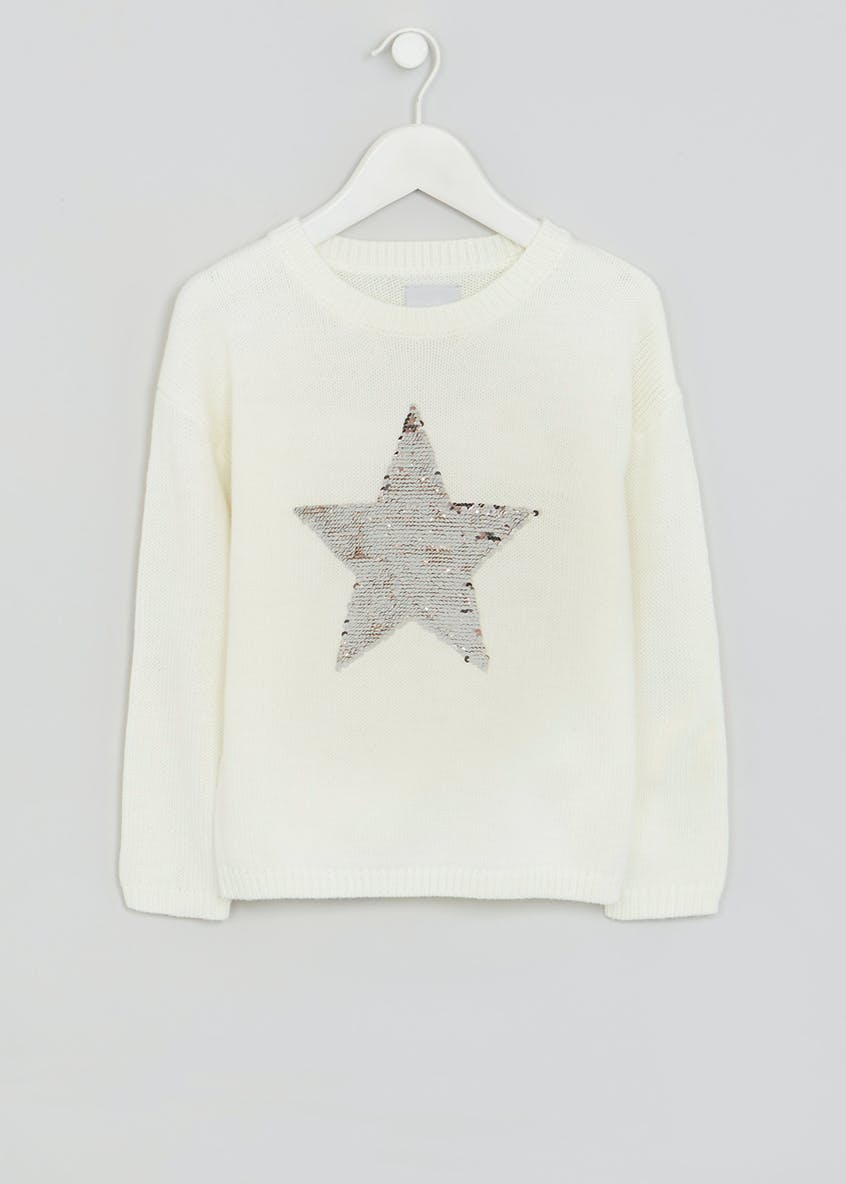 Girls Two Way Sequin Star Jumper (4-13yrs)