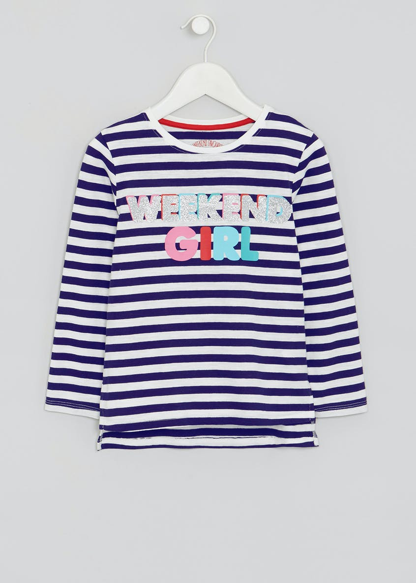 Girls Weekend Slogan Stripe T-Shirt (4-13yrs)