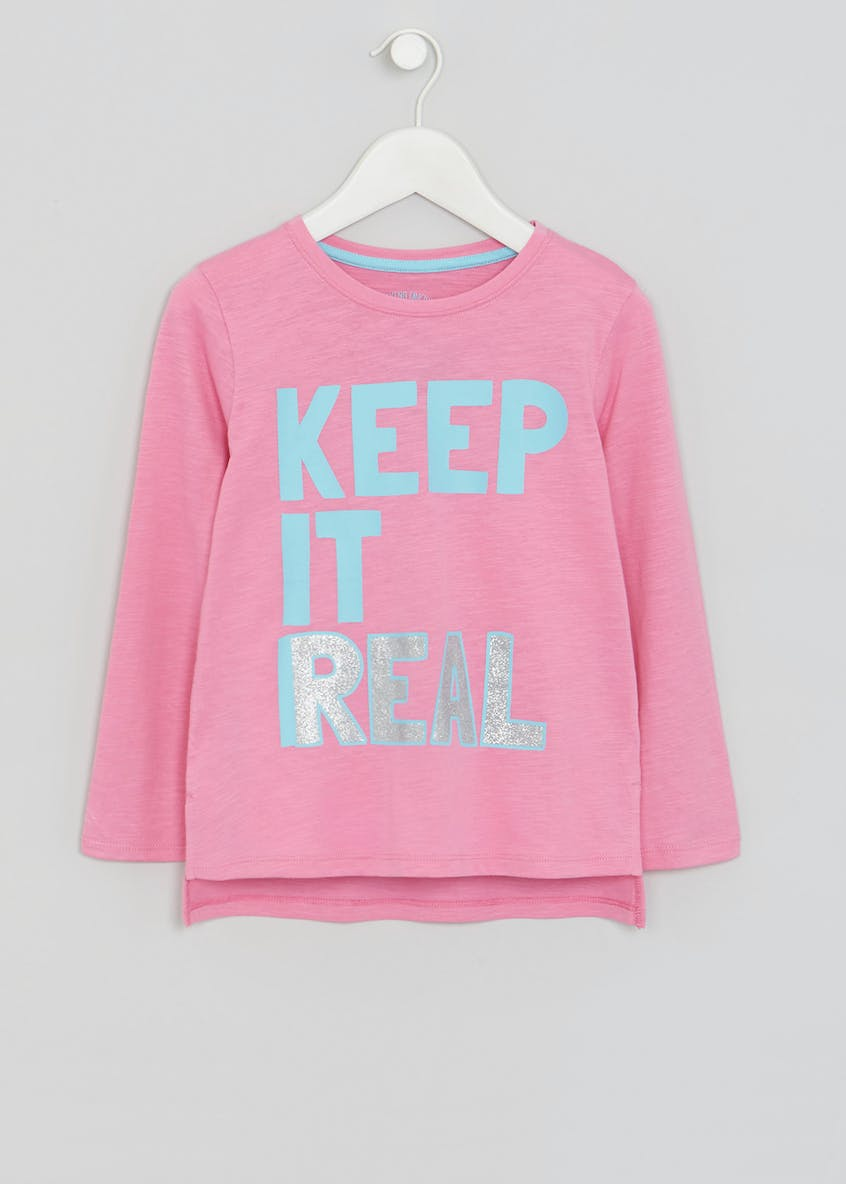 Girls Real Slogan Stripe T-Shirt (4-13yrs)