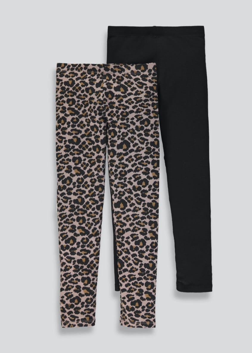 Girls 2 Pack Leopard Print Leggings (4-7yrs)