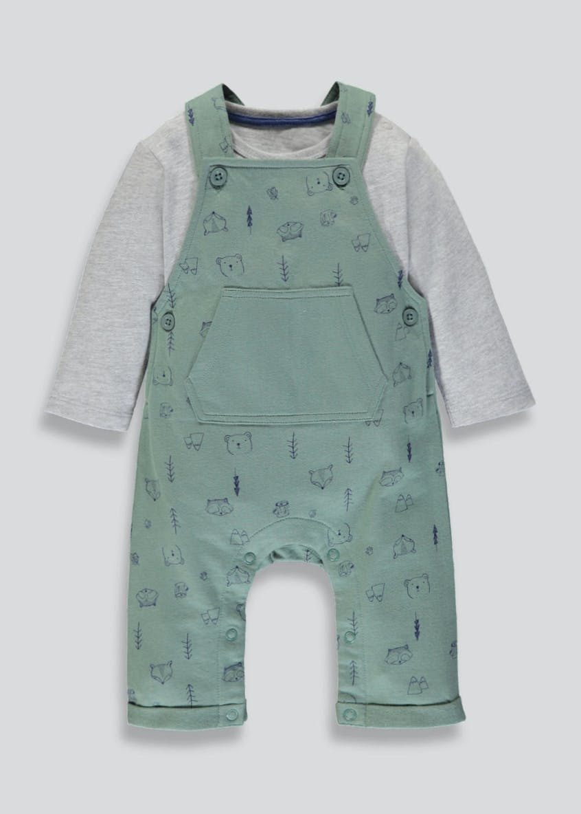 Unisex Bear Dungaree Romper & T-Shirt Set (Newborn-18mths)